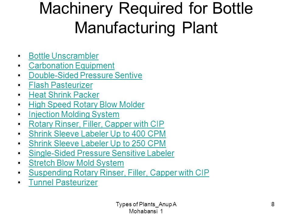 Machinery Required for Bottle Manufacturing Plant