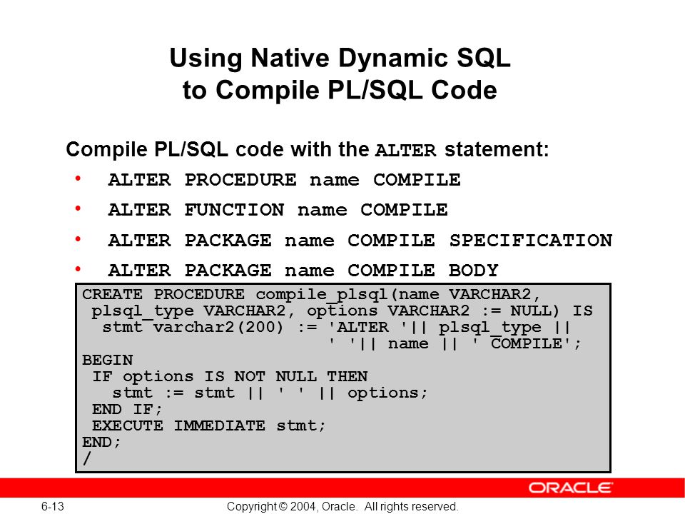 execute dynamic query in stored procedure in oracle