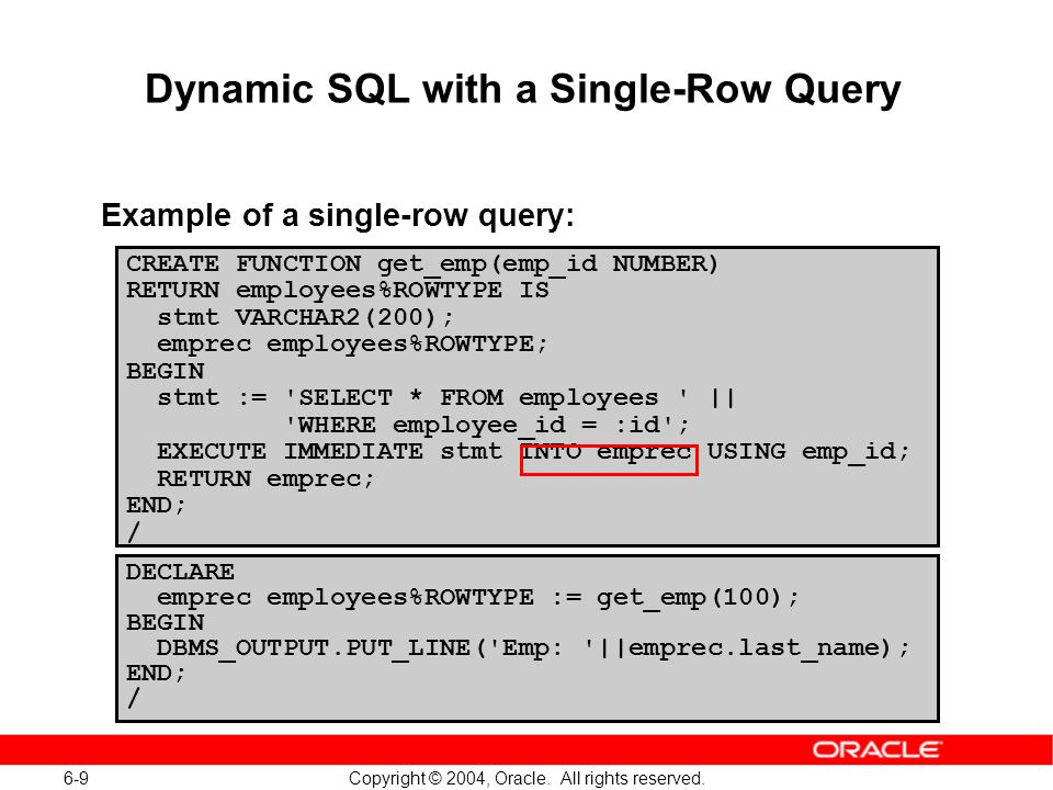 execute immediate into oracle example