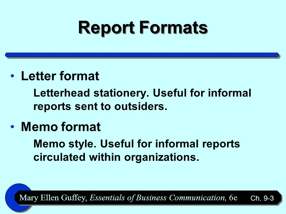 Six categories of informal reports ppt video online download 3 report formats letter spiritdancerdesigns Choice Image