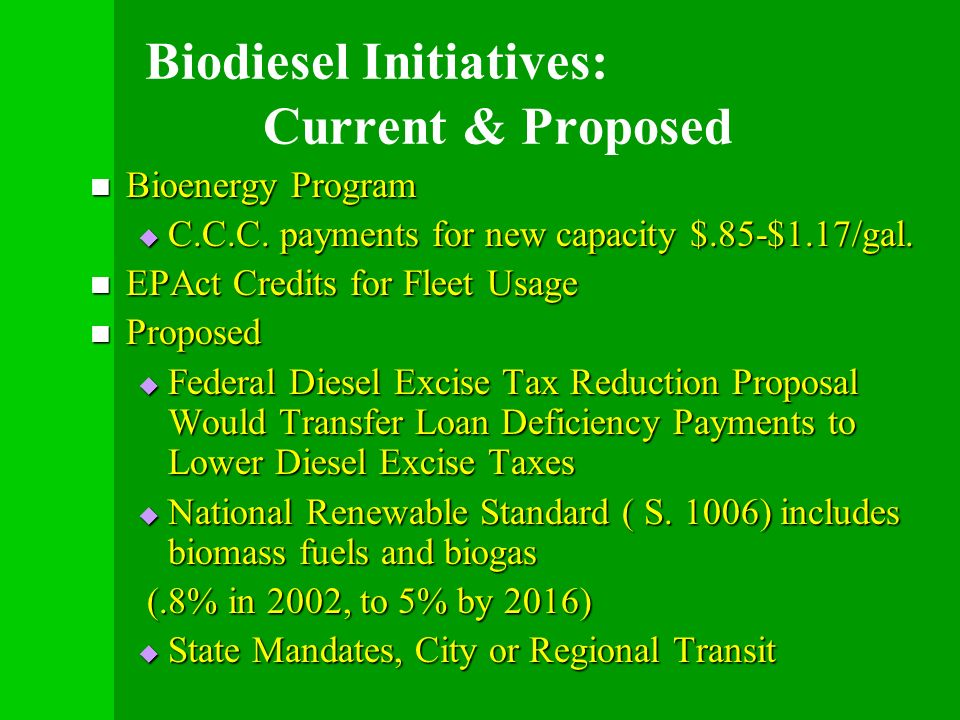 Biodiesel Initiatives: Current & Proposed