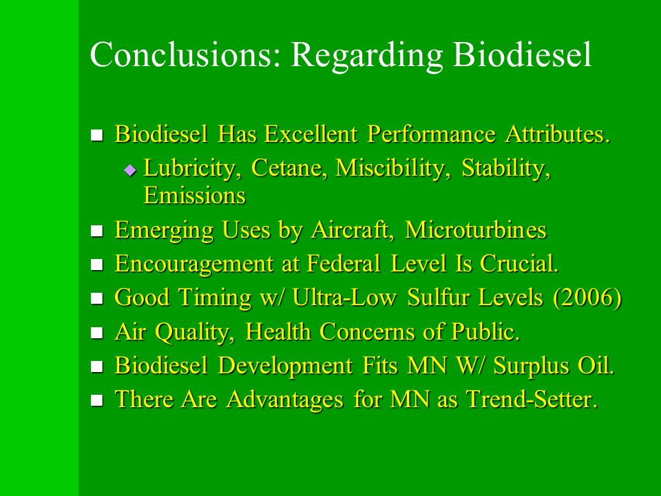 Conclusions: Regarding Biodiesel