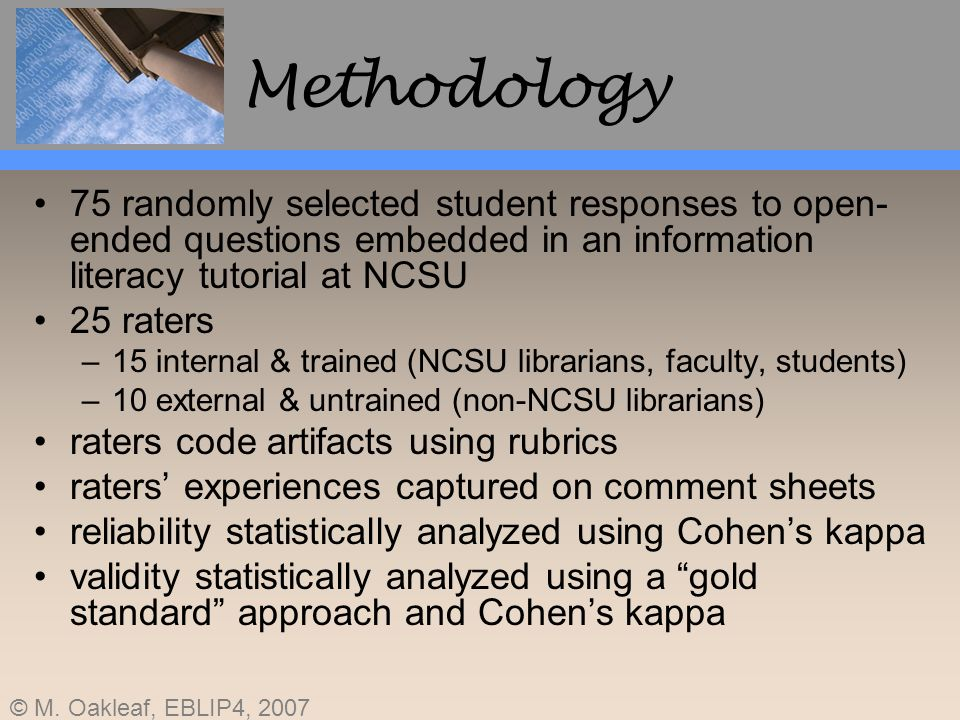Methodology 75 randomly selected student responses to open-ended questions embedded in an information literacy tutorial at NCSU.