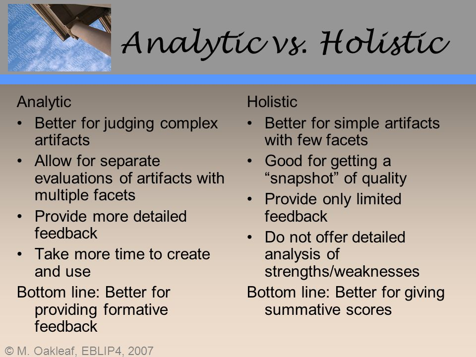 Analytic vs. Holistic Analytic Better for judging complex artifacts