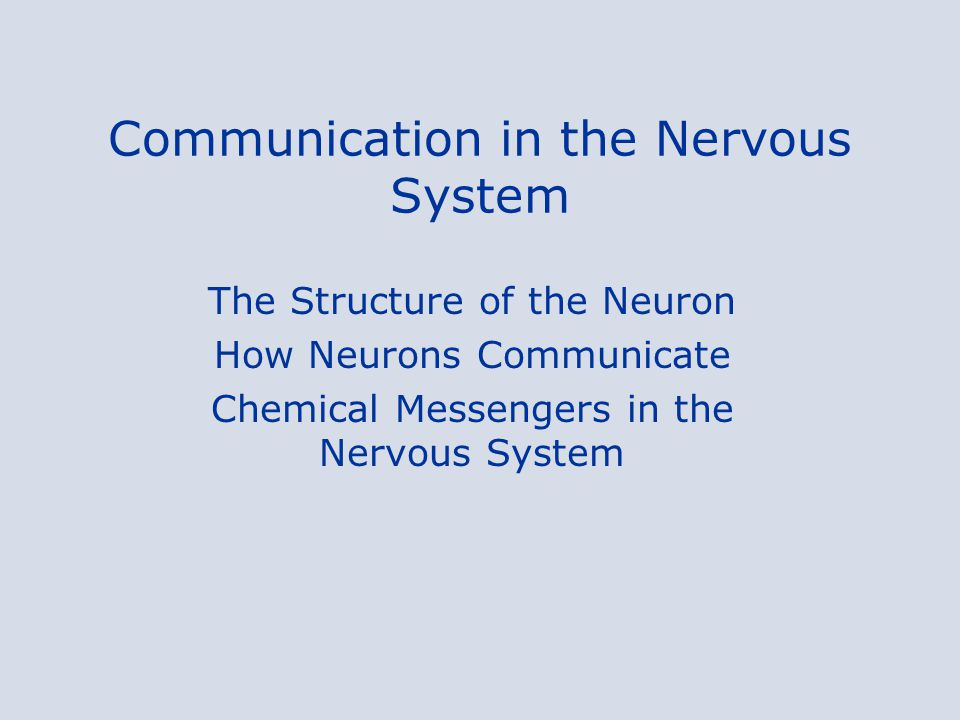Communication in the Nervous System