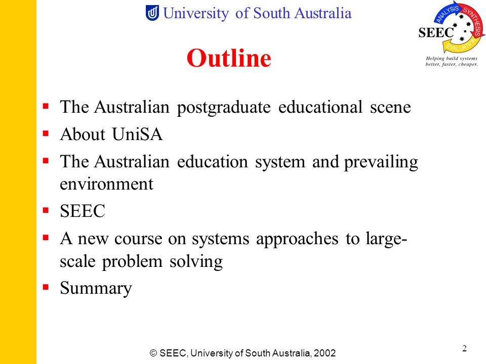Outline The Australian postgraduate educational scene About UniSA