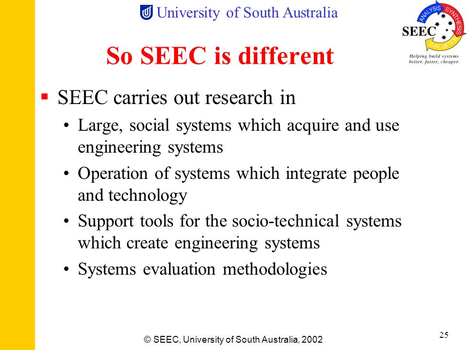 So SEEC is different SEEC carries out research in