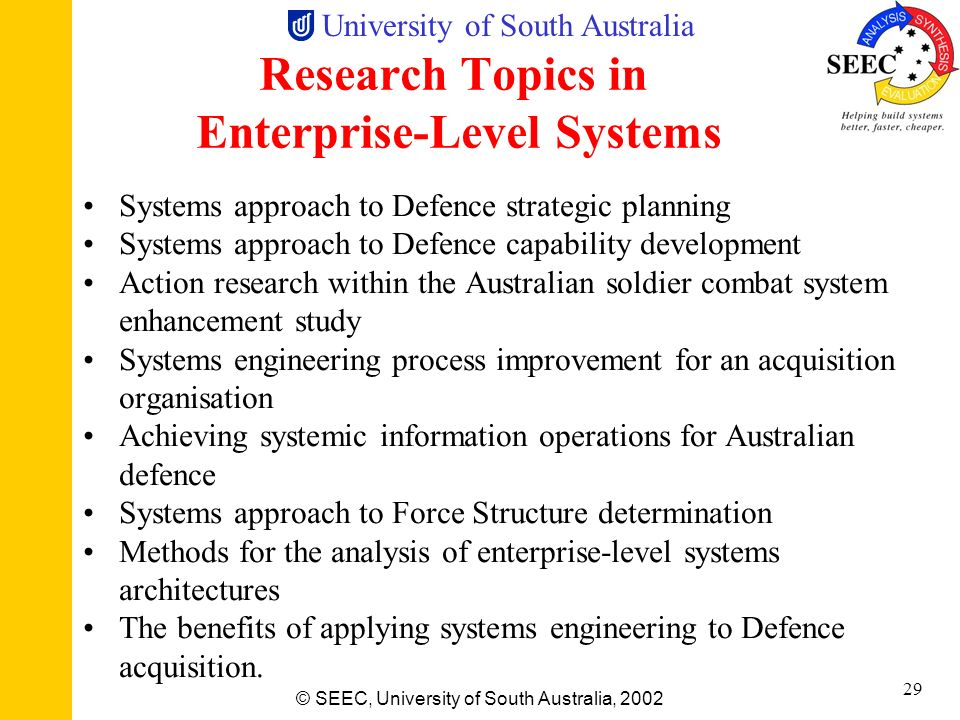 Research Topics in Enterprise-Level Systems