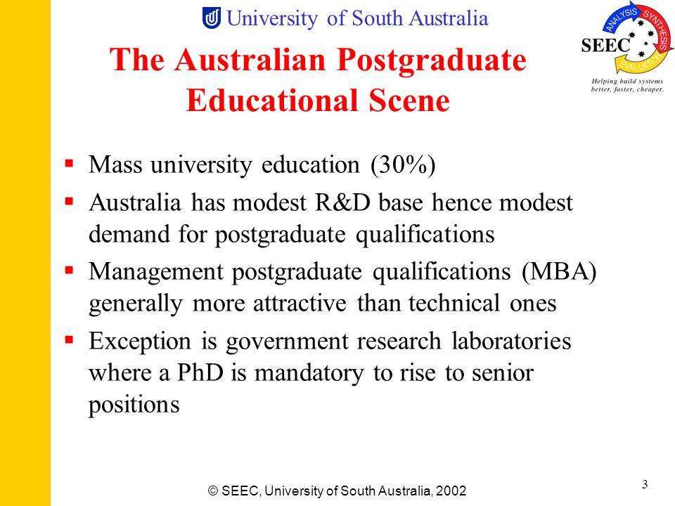 The Australian Postgraduate Educational Scene
