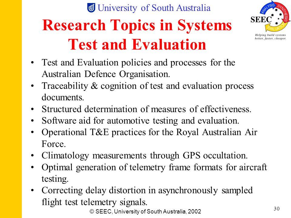 Research Topics in Systems Test and Evaluation