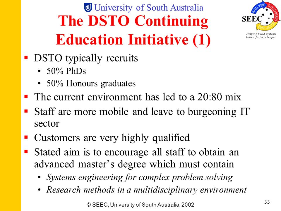 The DSTO Continuing Education Initiative (1)