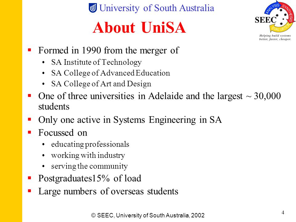 About UniSA Formed in 1990 from the merger of