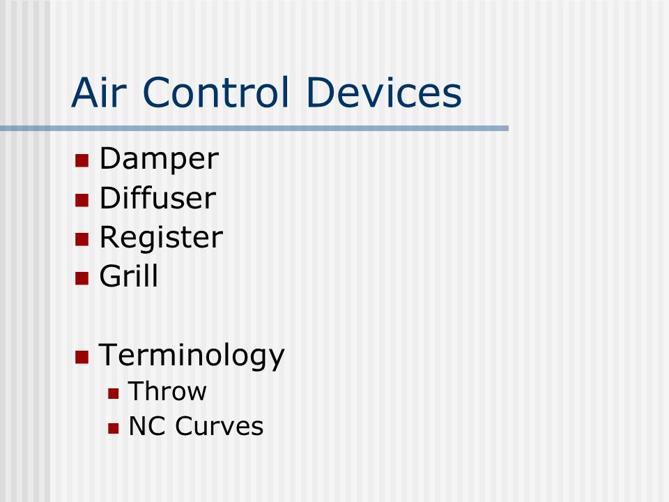 Air Control Devices Damper Diffuser Register Grill Terminology Throw