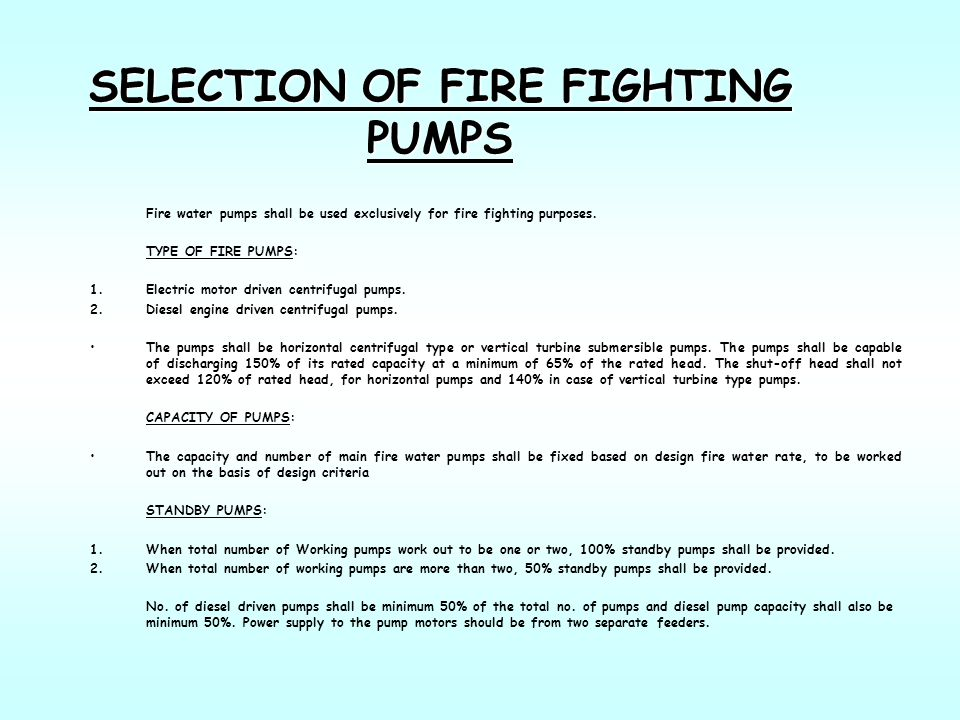 SELECTION OF FIRE FIGHTING PUMPS