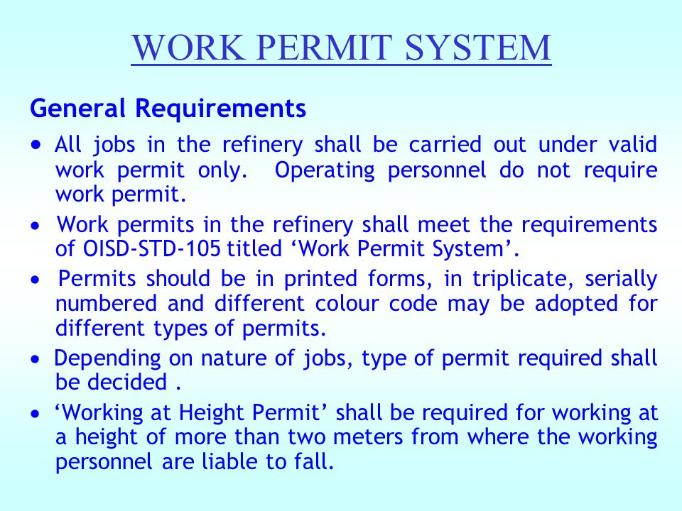 WORK PERMIT SYSTEM General Requirements
