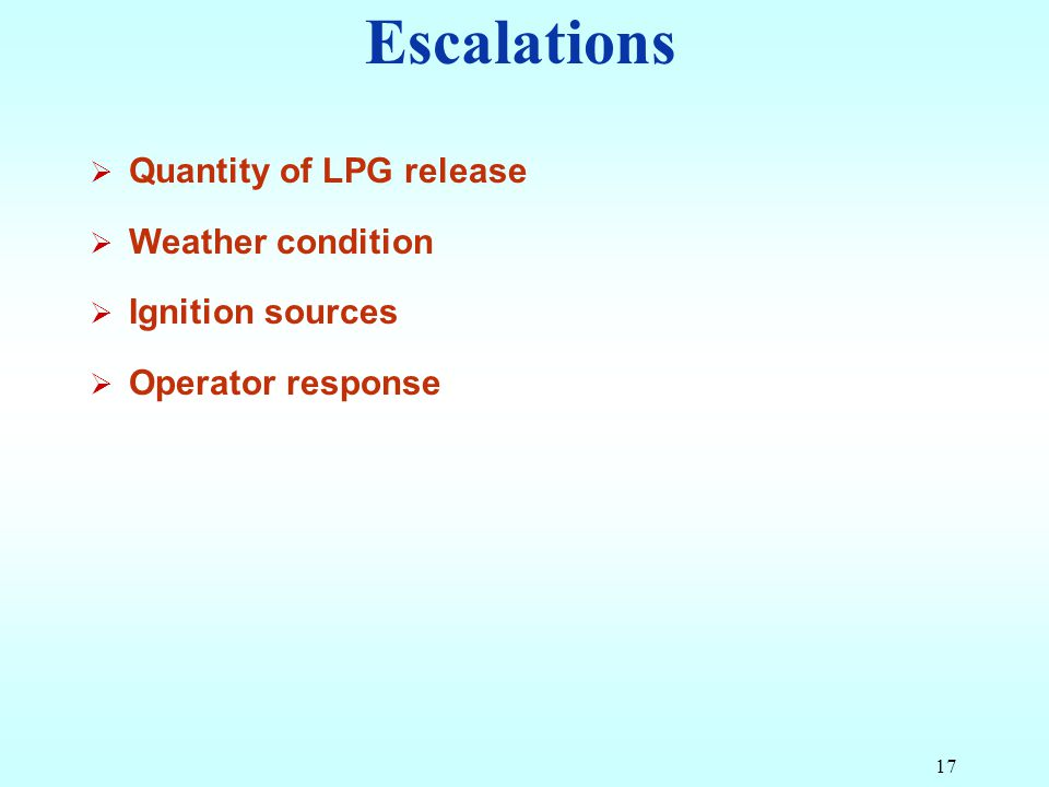 Escalations Quantity of LPG release Weather condition Ignition sources