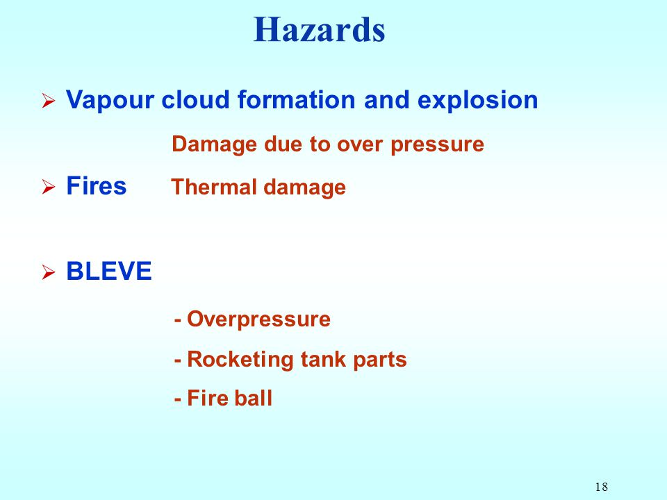 Hazards Vapour cloud formation and explosion