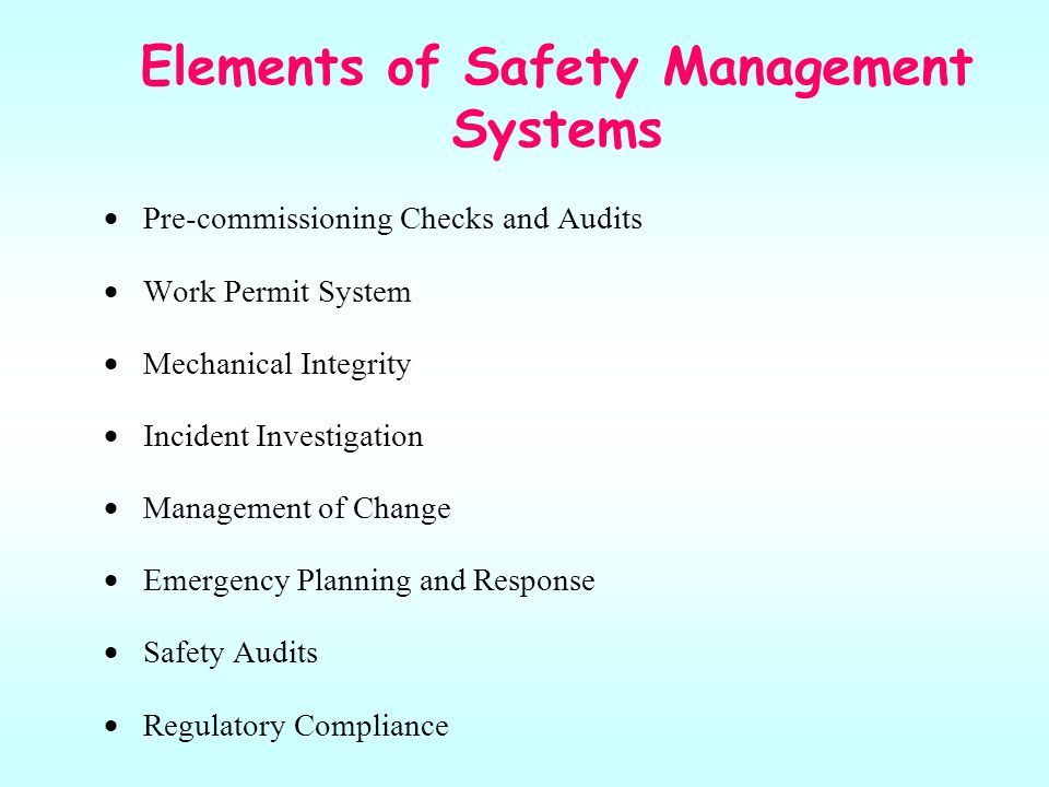 Elements of Safety Management Systems