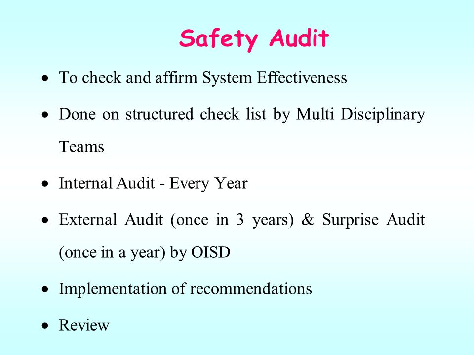Safety Audit To check and affirm System Effectiveness