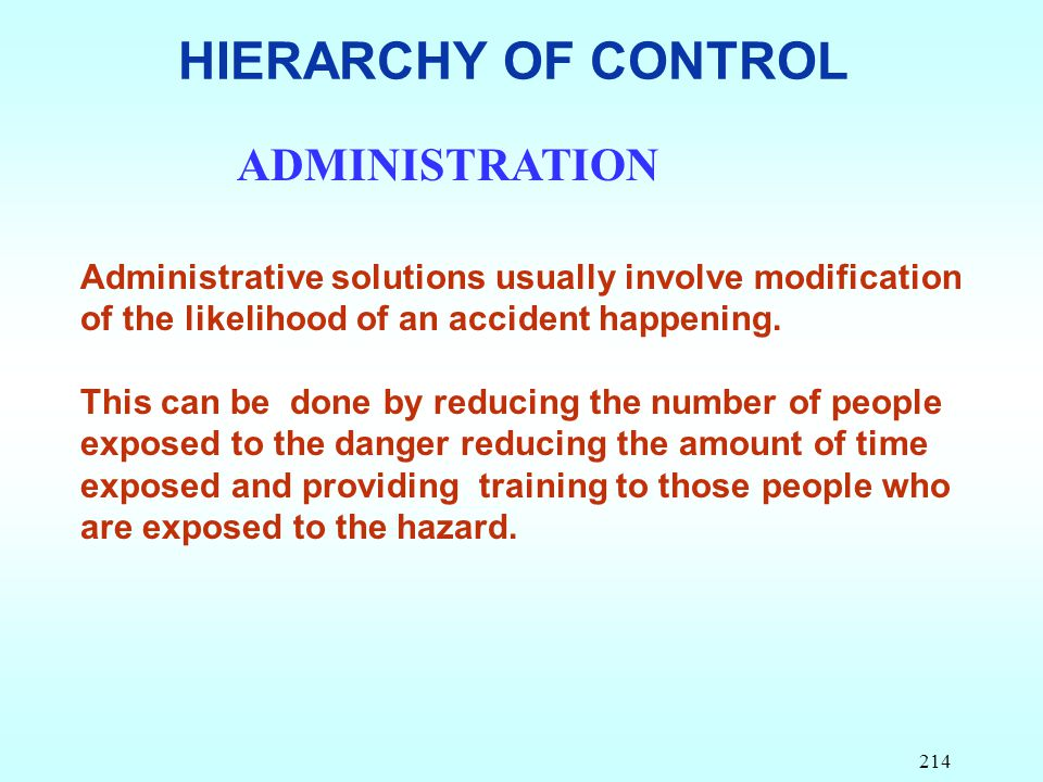 HIERARCHY OF CONTROL ADMINISTRATION