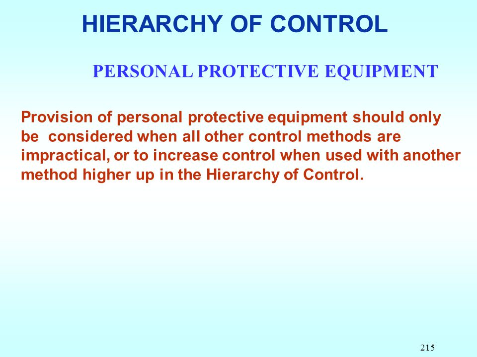 HIERARCHY OF CONTROL PERSONAL PROTECTIVE EQUIPMENT