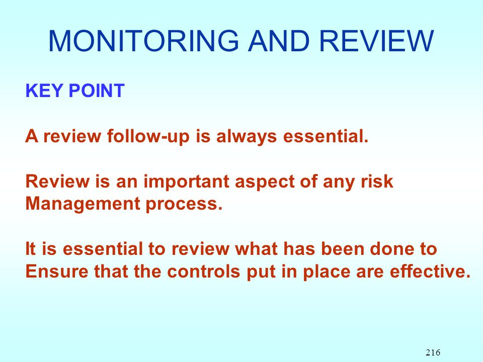 MONITORING AND REVIEW KEY POINT