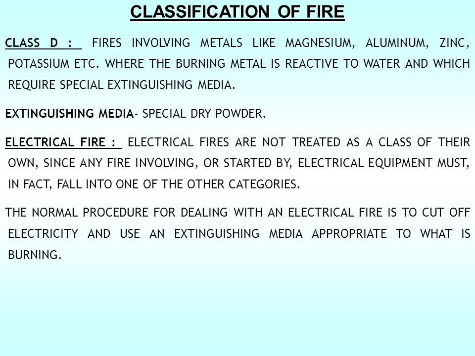 CLASSIFICATION OF FIRE