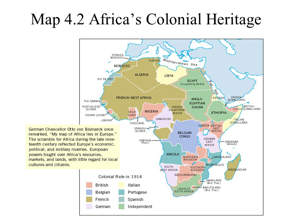 Map 4.2 Africa's Colonial Heritage