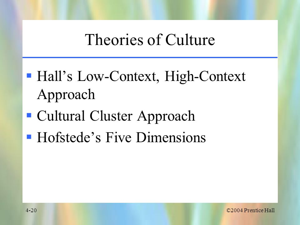 Theories of Culture Hall's Low-Context, High-Context Approach