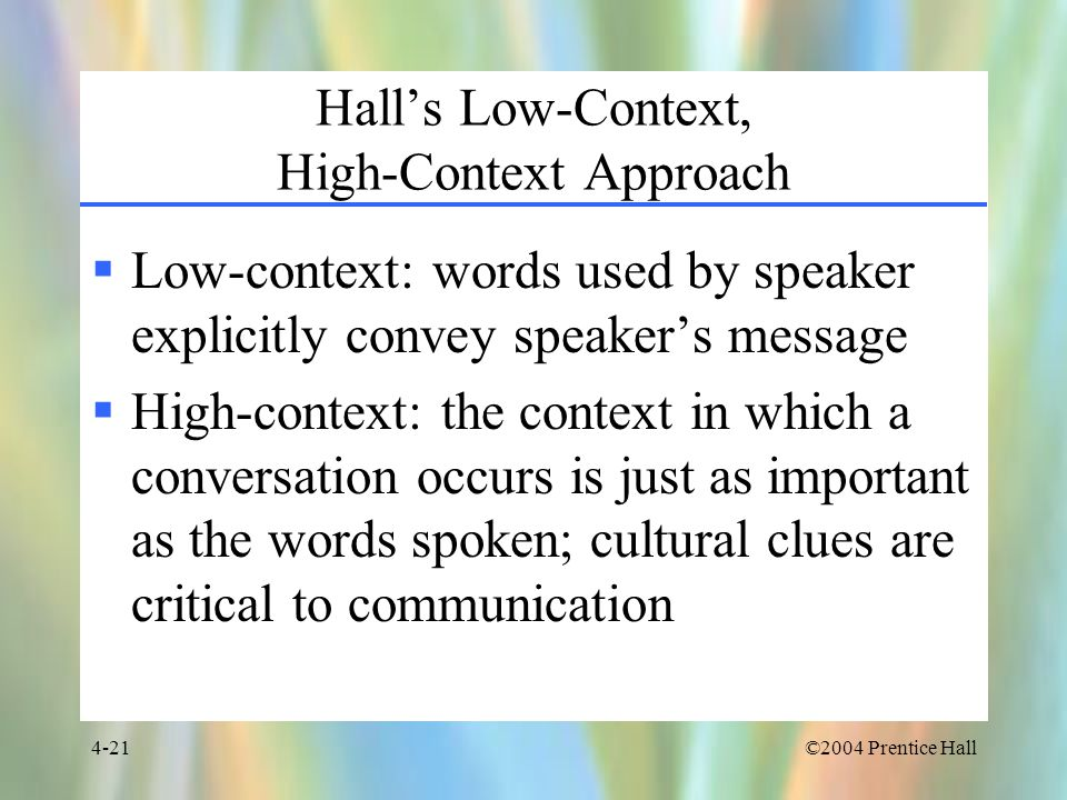 Hall's Low-Context, High-Context Approach