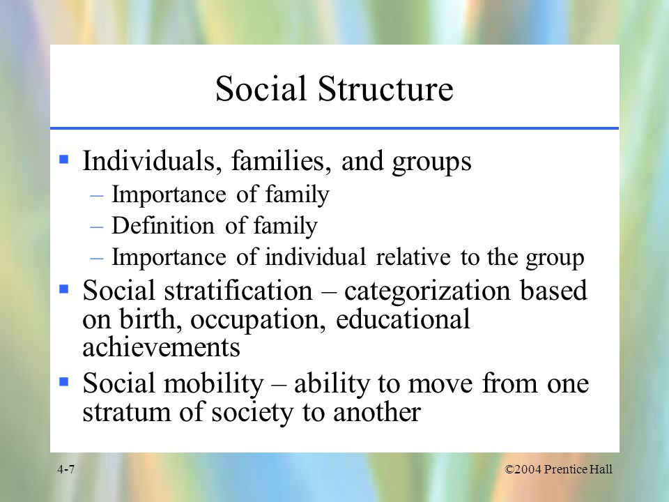 Social Structure Individuals, families, and groups