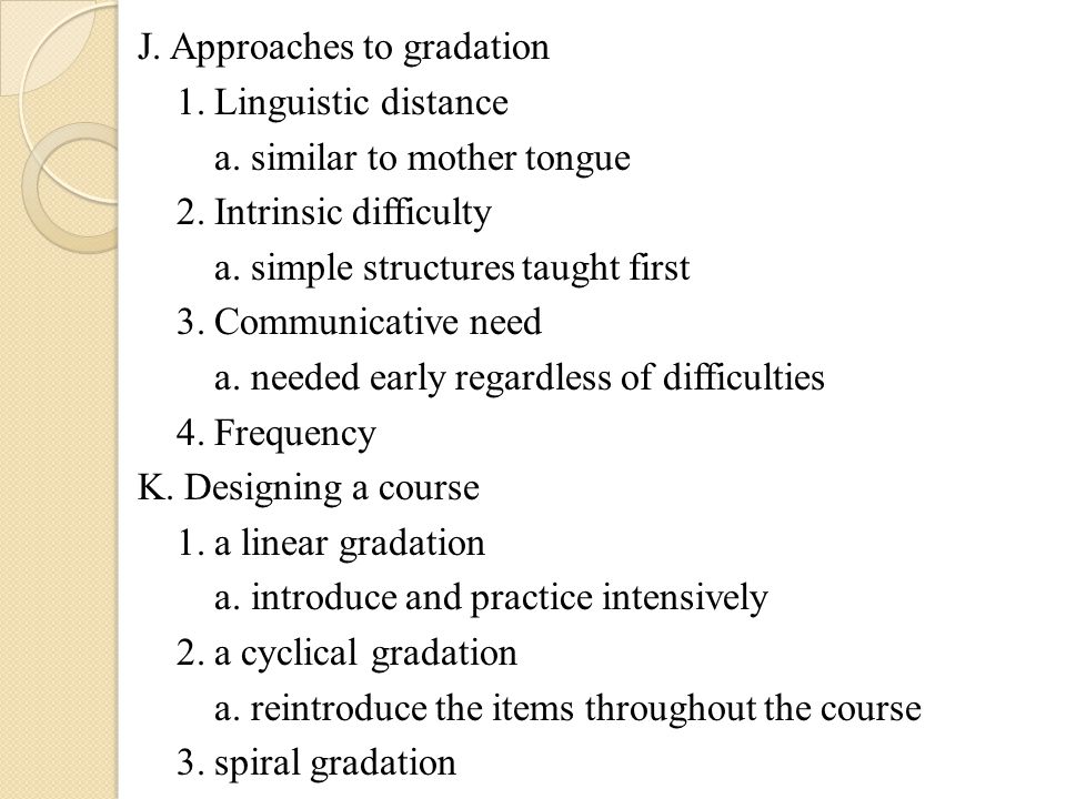 J. Approaches to gradation 1. Linguistic distance a