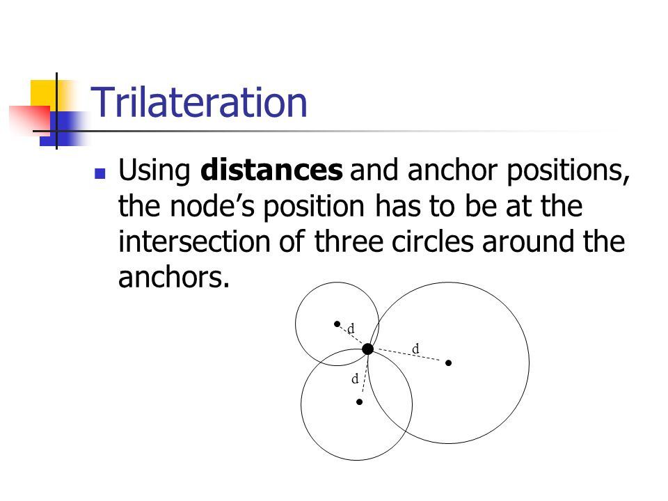 Trilateration Using distances and anchor positions, the node's position has to be at the intersection of three circles around the anchors.