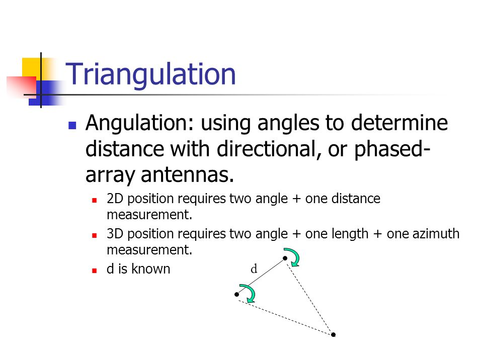 Triangulation Angulation: using angles to determine distance with directional, or phased-array antennas.
