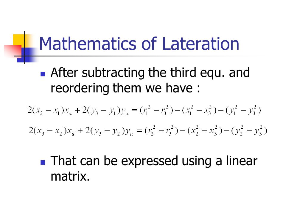 Mathematics of Lateration