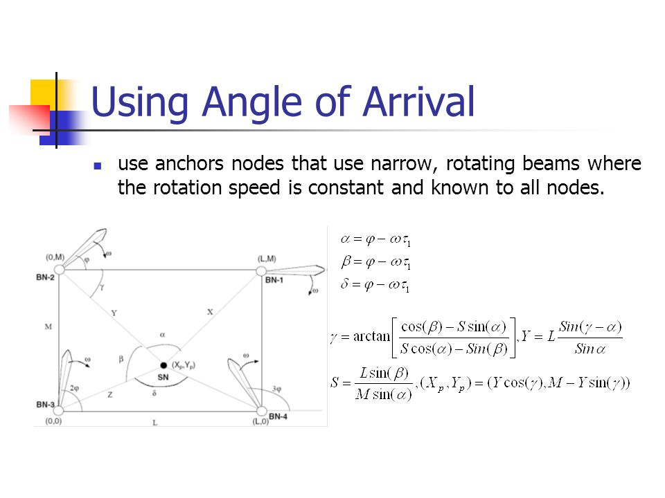 Using Angle of Arrival use anchors nodes that use narrow, rotating beams where the rotation speed is constant and known to all nodes.