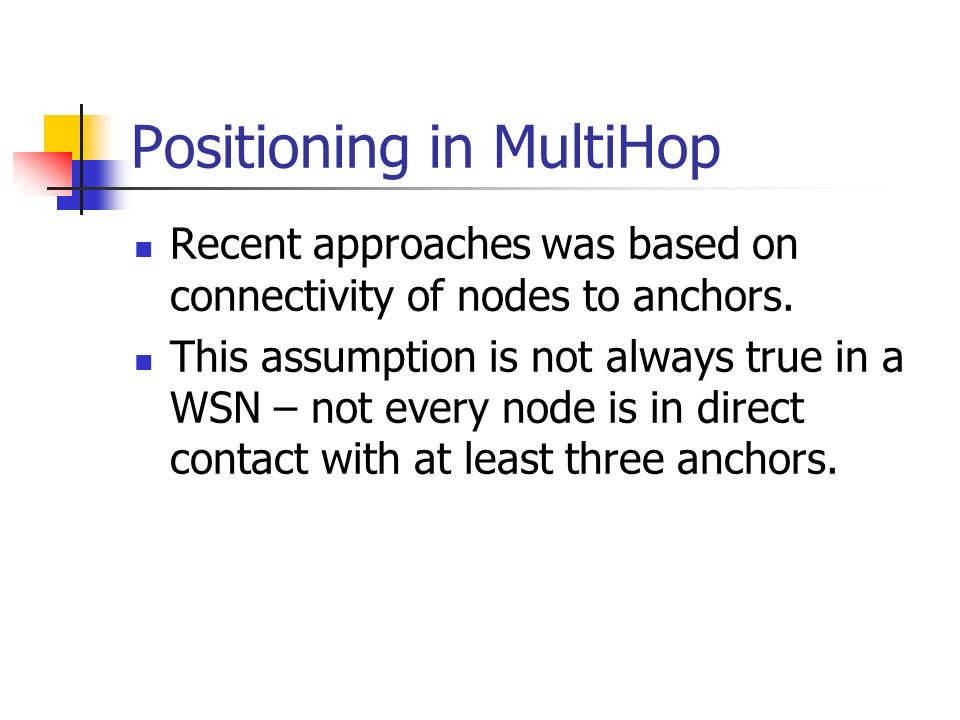 Positioning in MultiHop