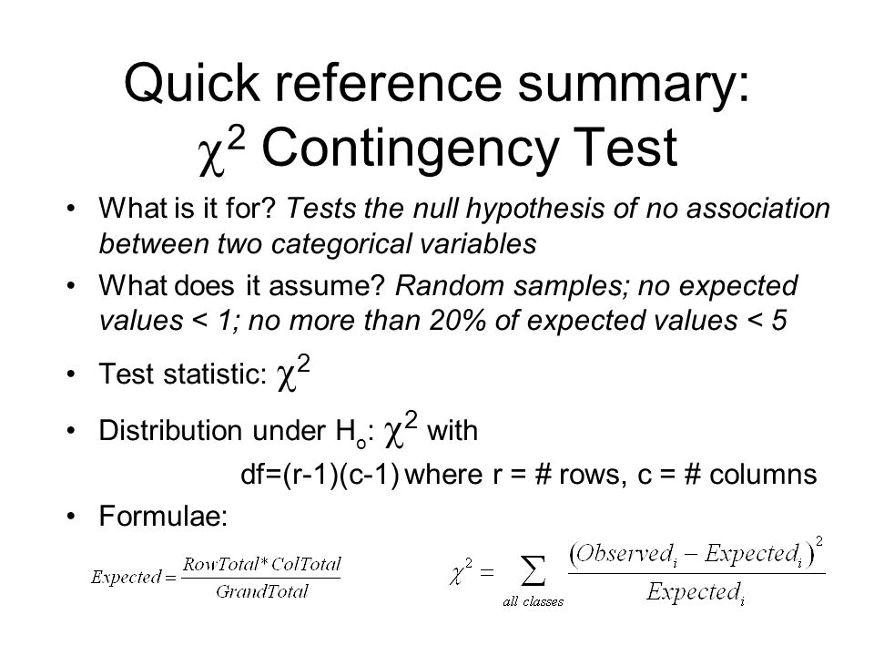 Quick reference summary: 2 Contingency Test