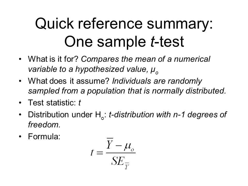 Quick reference summary: One sample t-test