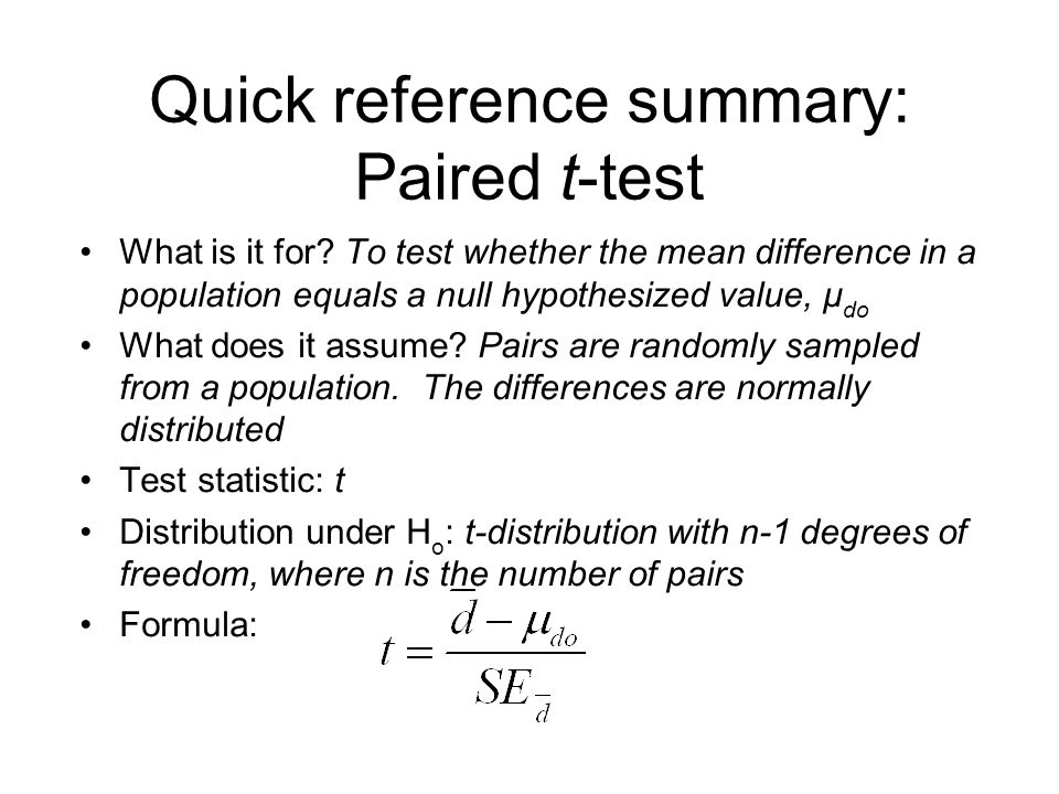 Quick reference summary: Paired t-test