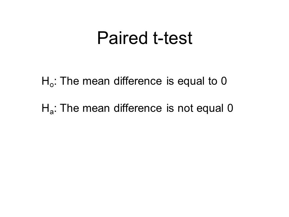 Paired t-test Ho: The mean difference is equal to 0