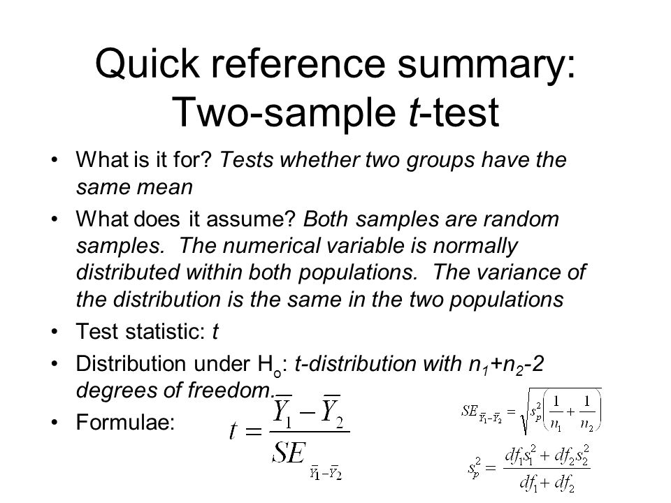 Quick reference summary: Two-sample t-test