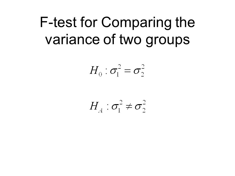 F-test for Comparing the variance of two groups