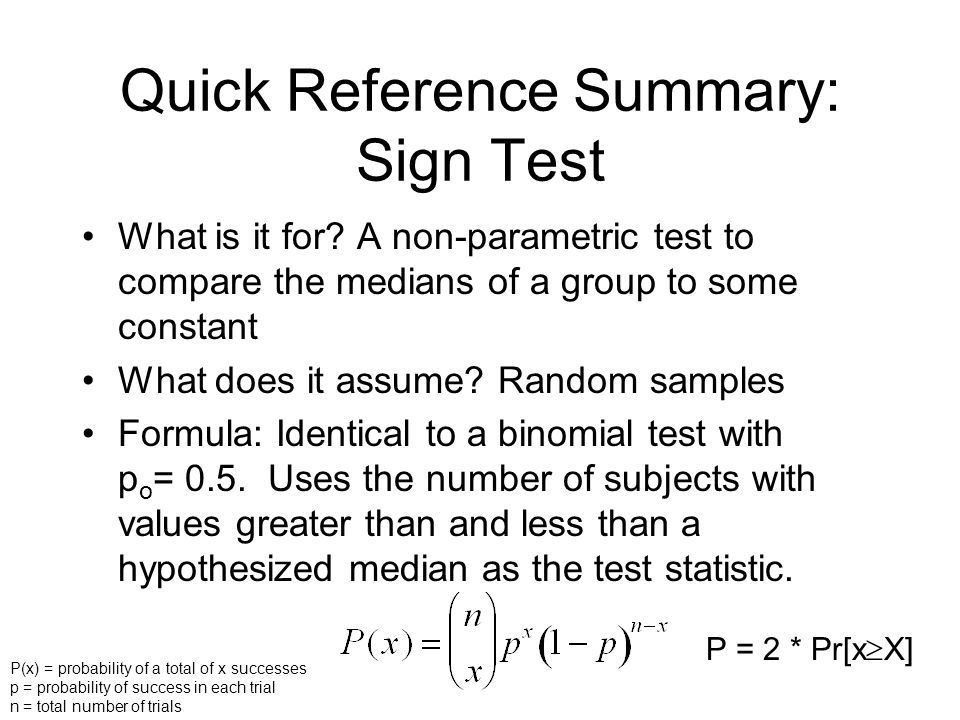 Quick Reference Summary: Sign Test