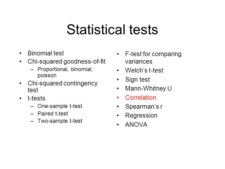 Statistical tests Binomial test Chi-squared goodness-of-fit