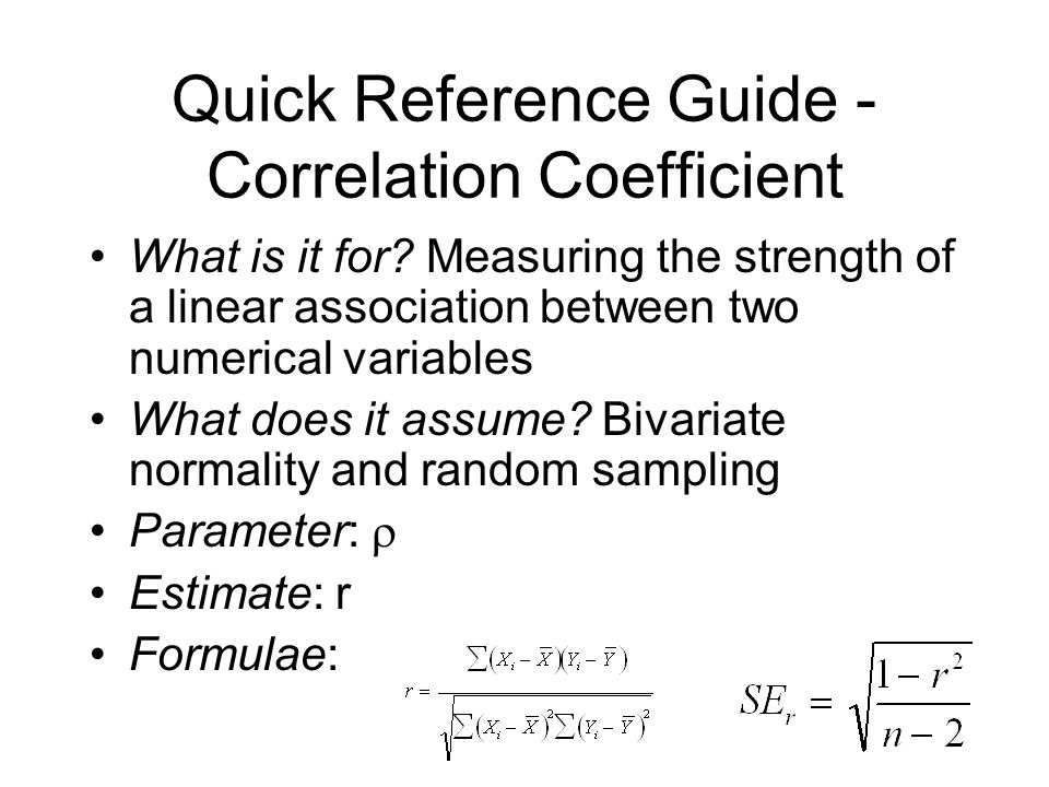 Quick Reference Guide - Correlation Coefficient