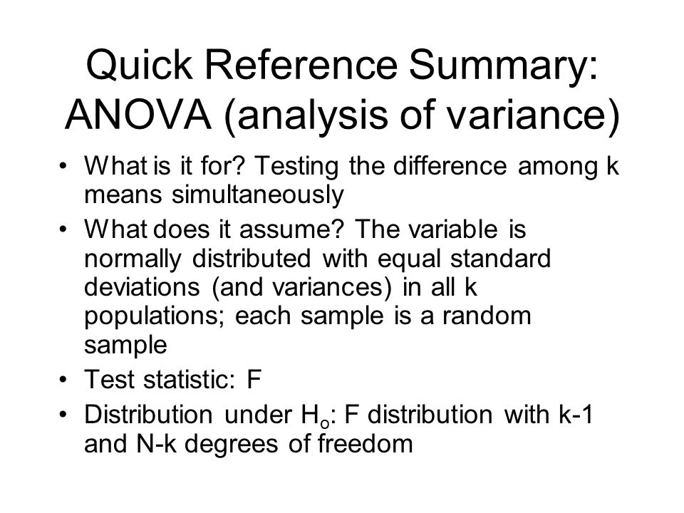 Quick Reference Summary: ANOVA (analysis of variance)