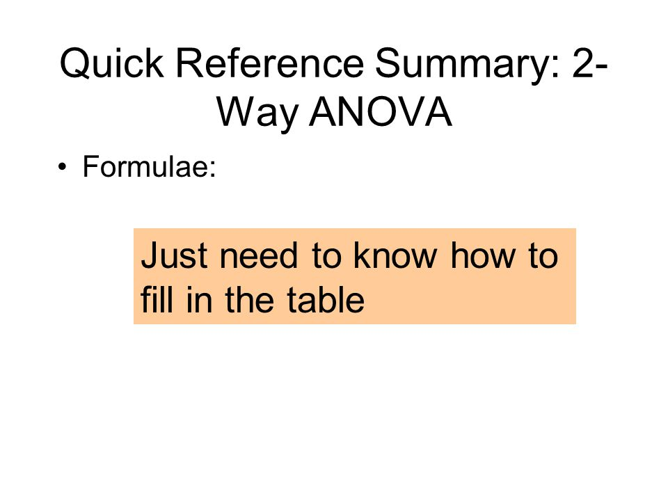 Quick Reference Summary: 2-Way ANOVA