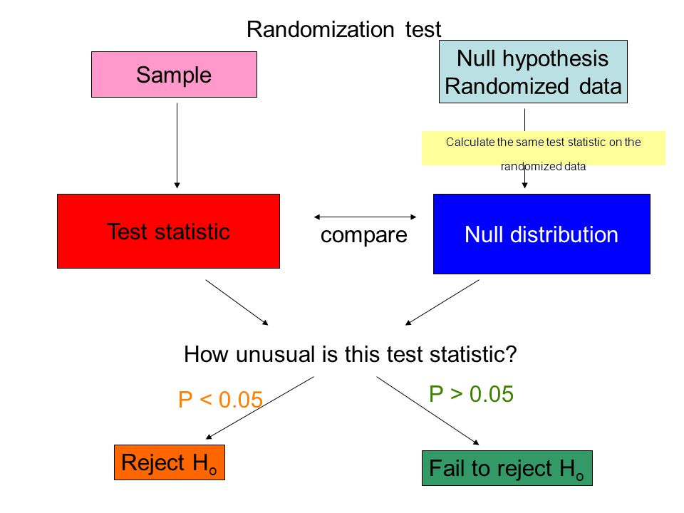 Calculate the same test statistic on the randomized data