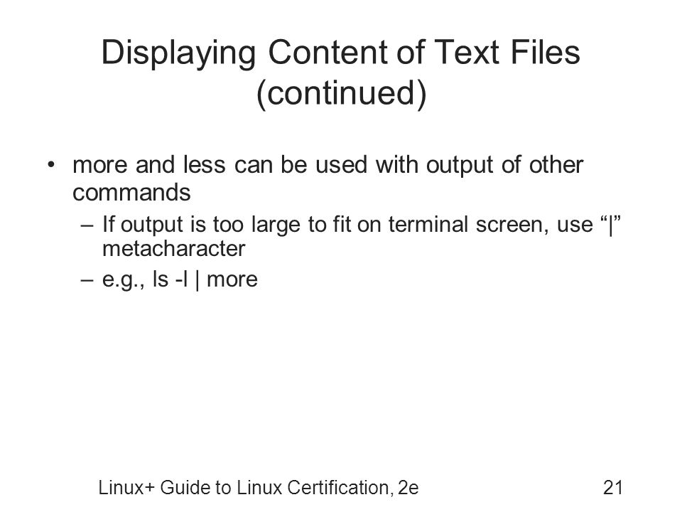 Displaying Content of Text Files (continued)